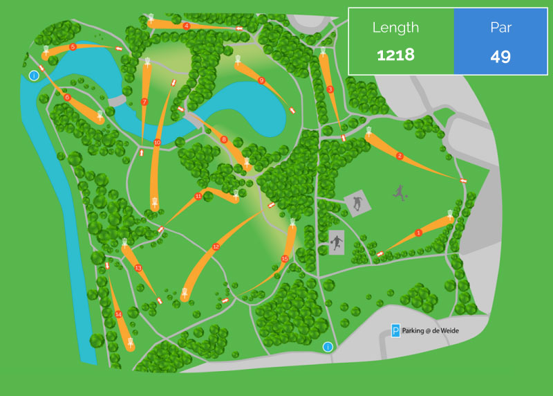 Kaart Disc Golf course Steenbergerpark Hoogeveen
